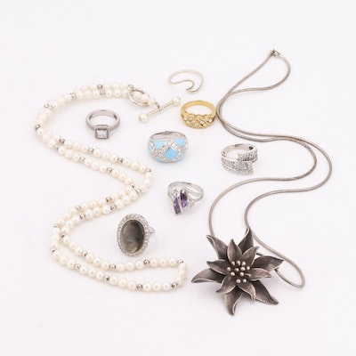Assorted Collection of Sterling Silver Jewelry