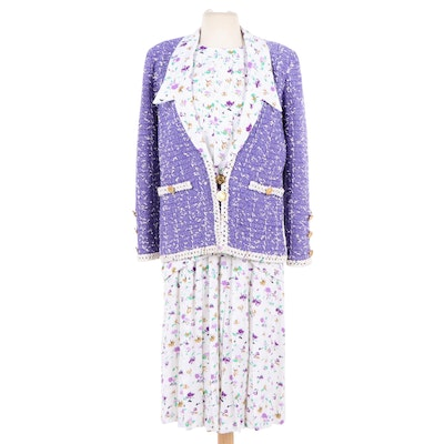 Adolfo at Saks Fifth Avenue Three-Piece Skirt Suit Set in Floral Print, 1980s