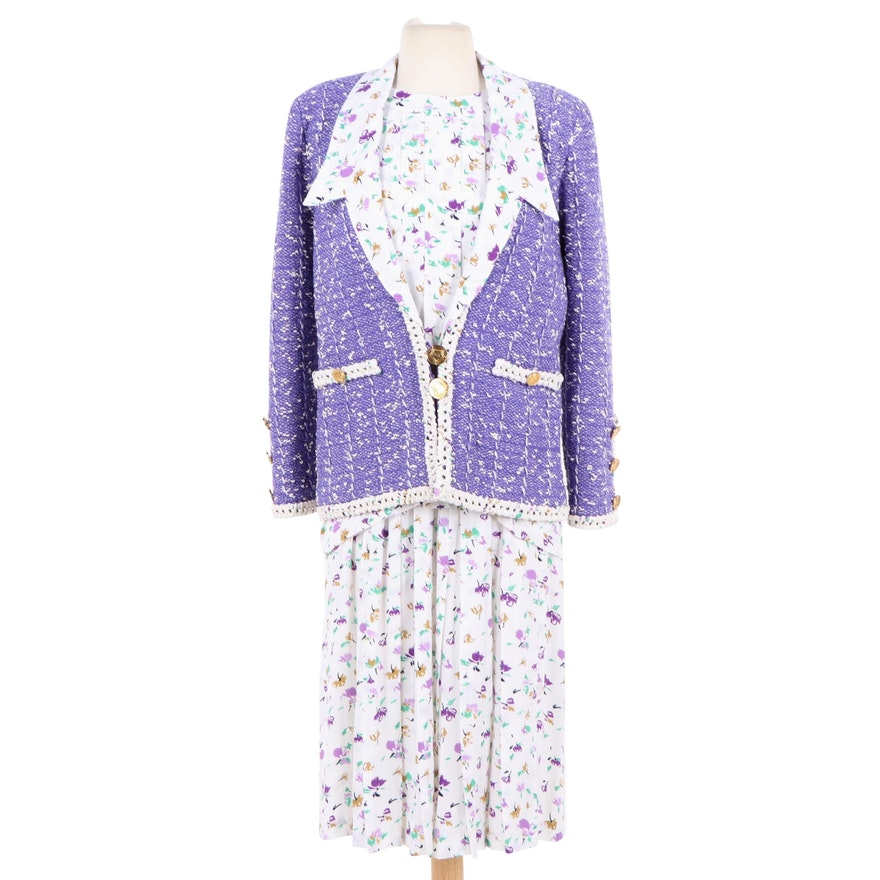 1f1de43d960ba Adolfo at Saks Fifth Avenue Three-Piece Skirt Suit Set in Floral Print,  1980s