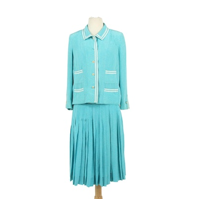 Chanel Boutique Blue and White Silk Pleated Skirt and Blazer Set, 1980s Vintage