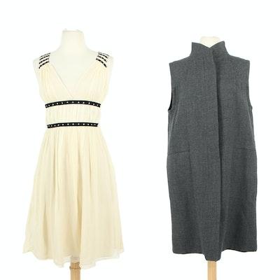Chloé Silk Blend Grecian Inspired Sleeveless Dress and Marni Grey Wool Vest