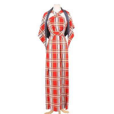 Donald Brooks Boutique Multicolor Plaid Halter Dress with Shoulder Wrap, 1970s