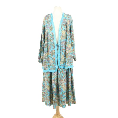 Diane Freis Original Multicolor Silk Skirt Suit Set, 1980s Vintage