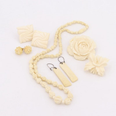 Carved Bone Earrings and Necklace with 10K and 14K Yellow Gold