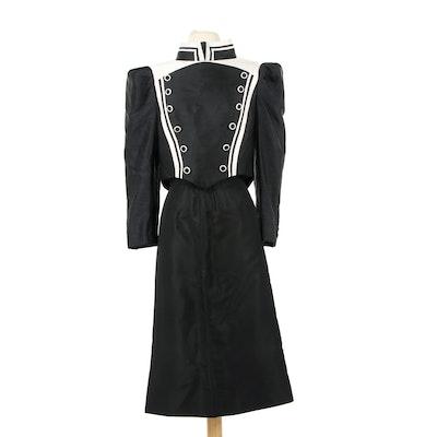 Reza Khan Raw Silk Structured Skirt Suit, 1980s Vintage