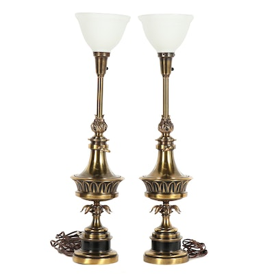 Brass Metallic Finished Torchiere Lamps with Milk Glass Shades