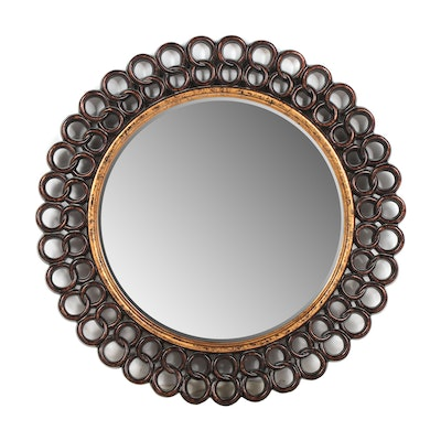 Hemispheres Round Wall Mirror with Antiqued Metallic Finish