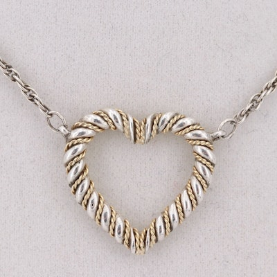 Tiffany & Co. Sterling Silver and 18K Yellow Gold Heart Pendant Necklace