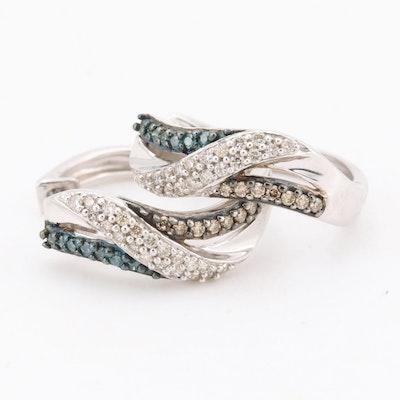 10K White Gold Blue, Brown and White Diamond Earrings