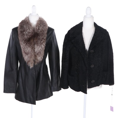 Marvin Richards Leather and Fox Fur Trimmed Jacket with Broadtail Jacket
