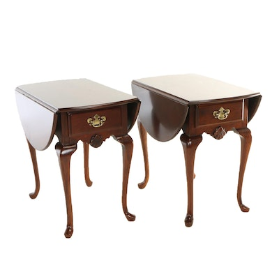 Pair of Queen Anne Style Cherrywood Pembroke Tables, Late 20th Century