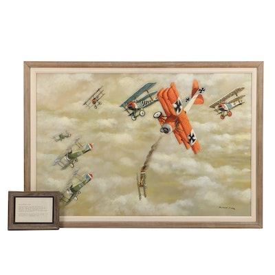 "Robert Fabe Acrylic Painting of WWI Aircraft ""The Richtofen Circus"""