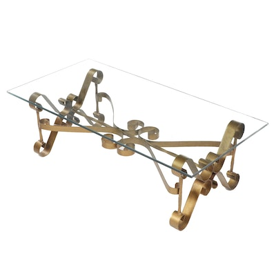 Contemporary Scrolled Metal Coffee Table with Glass Top