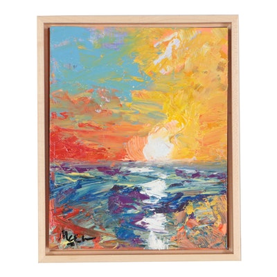 "Claire McElveen Abstract Oil Painting ""Ocean Dawn"""