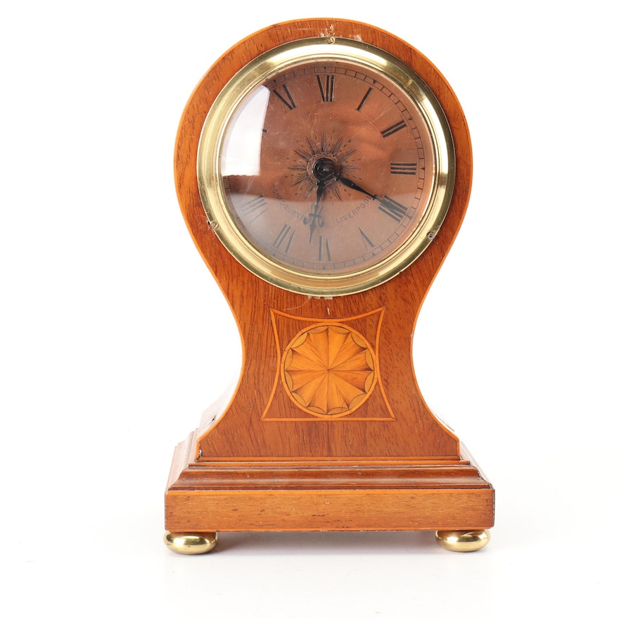 Oak Balloon Clock with String Inlay for Chadburns, Late 19th/Early 20th Century