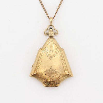 14K Yellow Gold Vintage Perfume Holder Pendant