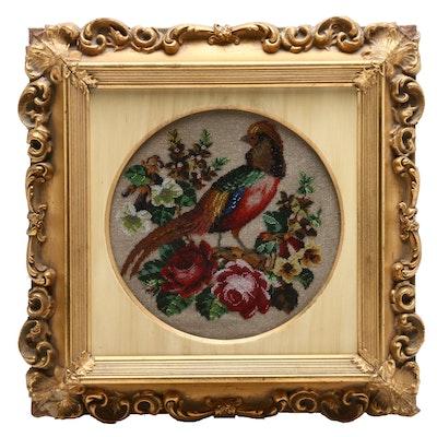 British Glass Beadwork of a Golden Pheasant, Mid 19th Century