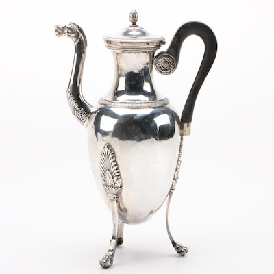 French Empire 950 Silver Coffee Pot with Horse Spout, Late 18th / Early 19th