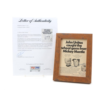 Mickey Mantle Autographed Framed Kretschmer Wheat Germ Book Page with COA/PSA