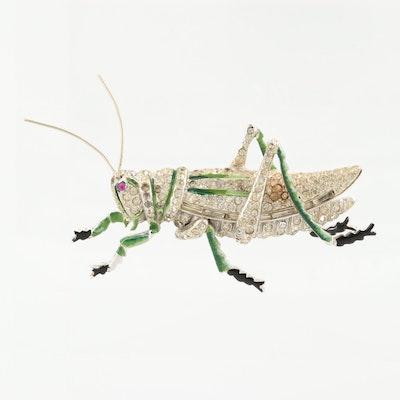 Circa 1940s Coro Rhinestone and Enamel Grasshopper Brooch