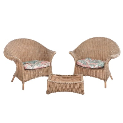 Pair of Wicker Patio Armchairs with Ottoman, Late 20th Century