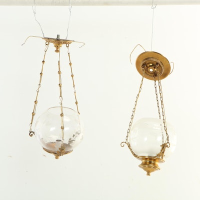Brass Tone Hanging Light Pendants with Etched Glass Globes