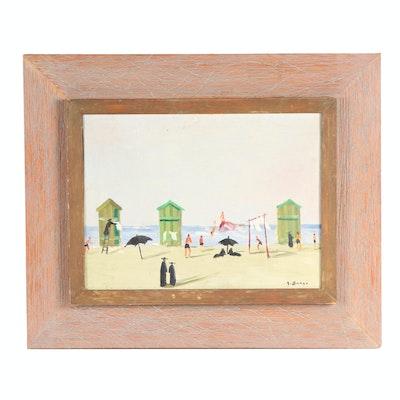 Giuseppe Succi Beach Scene Oil Painting