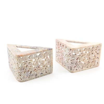 Indian Carved Reticulated Soapstone Bookends