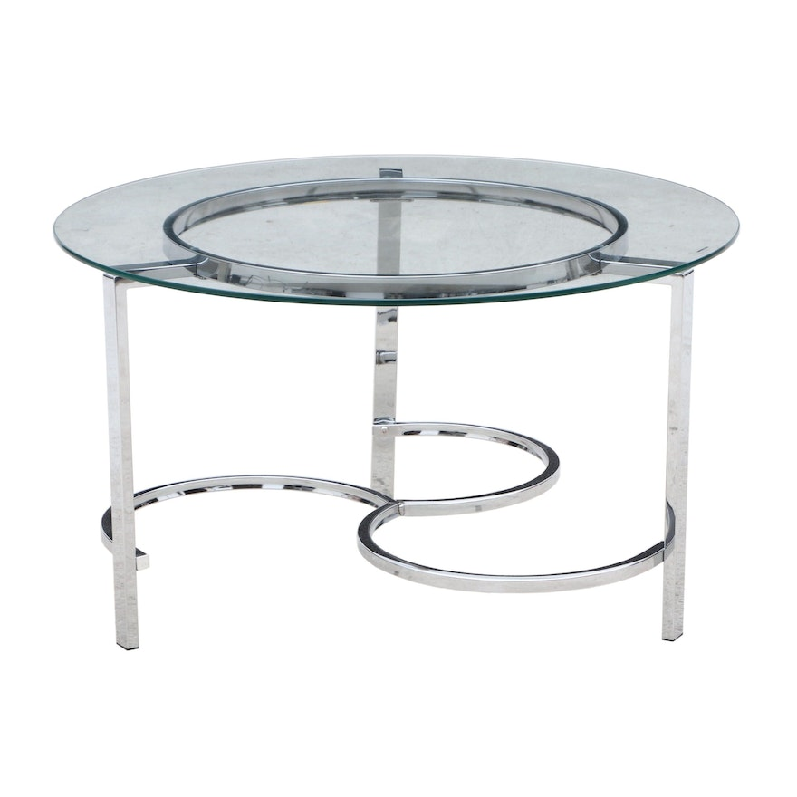 Contemporary Round Glass Coffee Table On Chrome Steel Base Ebth