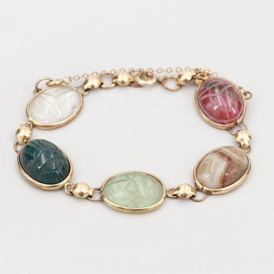 Gold Tone Bloodstone, Agate and Rhodonite Scarab Bracelet