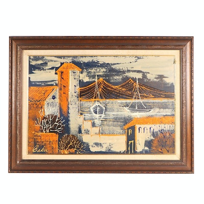 Mid 20th Century Architectural Oil Painting