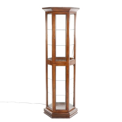 Wooden Hexagonal Curio Cabinet, Mid to Late 20th Century