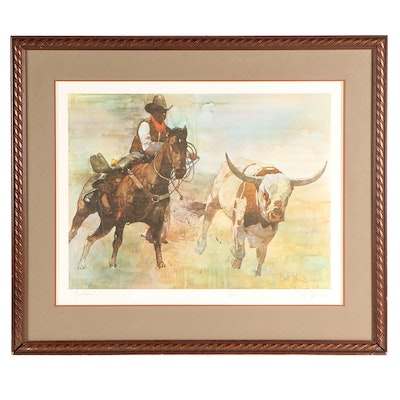 "Bart Forbes Offset Lithograph ""Longhorn"""