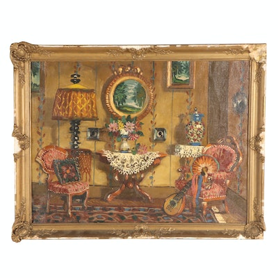 Hungarian Style Interior Scene Oil Painting