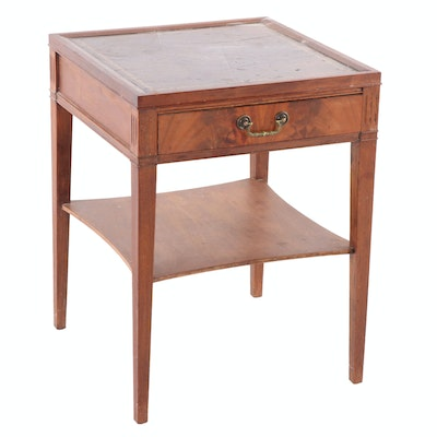 Regency Style Cherry Side Table with Embossed Leather Top, Twentieth Century