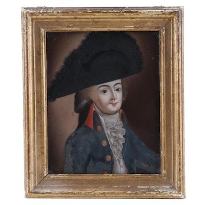 Naïve French Portrait Oil Painting