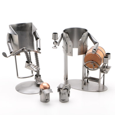 Handcrafted Figural Wine Bottle Holders by H & K Steel Sculptures