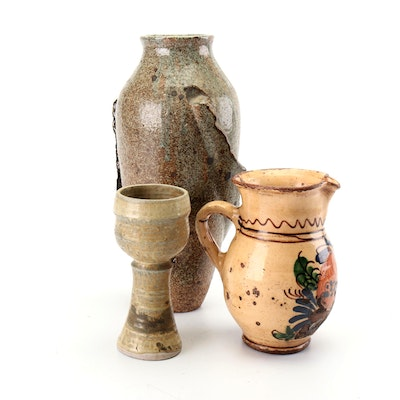 Wheel Thrown Stoneware Vessels and Earthenware Pitcher