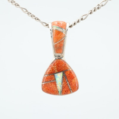 Sterling Silver Reversible Synthetic Opal and Sponge Coral Pendant Necklace