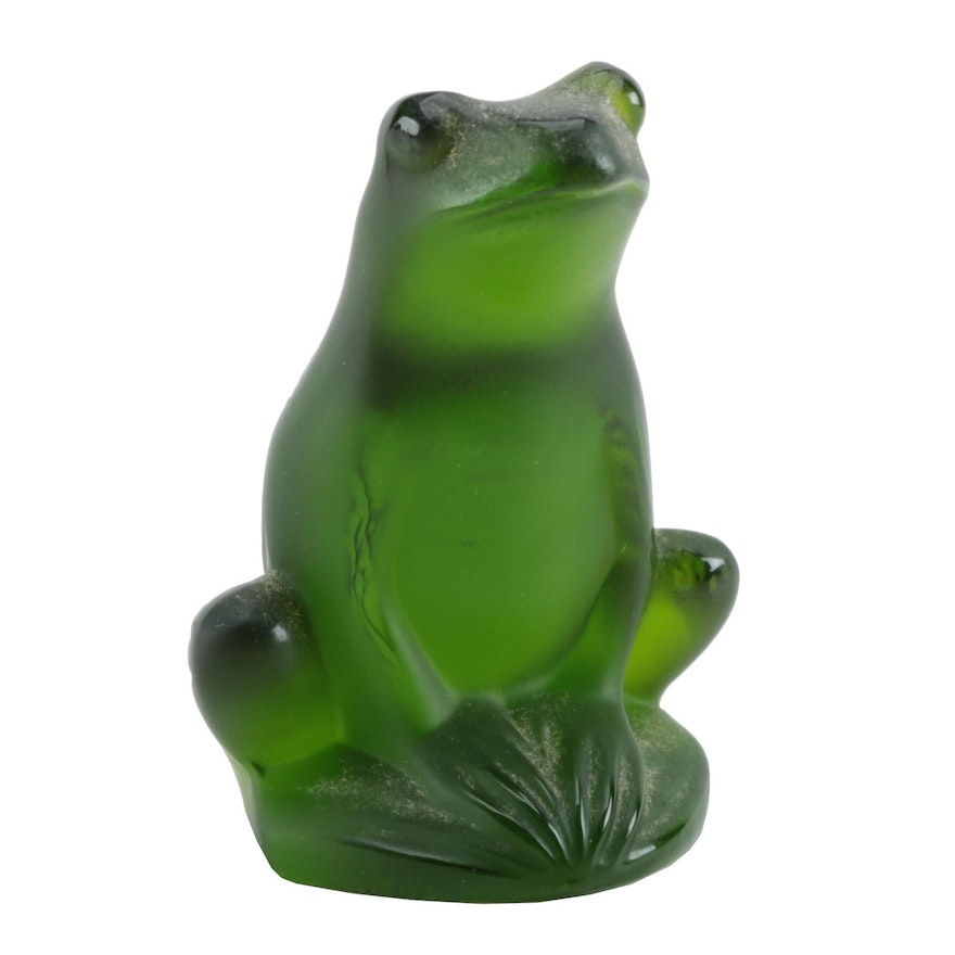 Lalique Frosted Green Crystal Frog Figurine