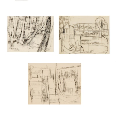 """Donald Roberts Mixed Media Drawings Including """"Ohio Spring Day"""""""