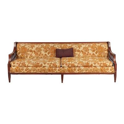Hollywood Regency Walnut Finish Floral Upholstered Sofa, Mid-Century