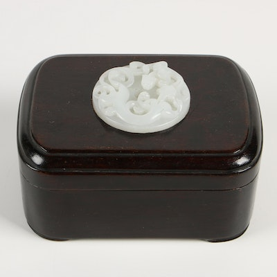 Chinese Carved Bowenite Medallion on Carved Wood Box