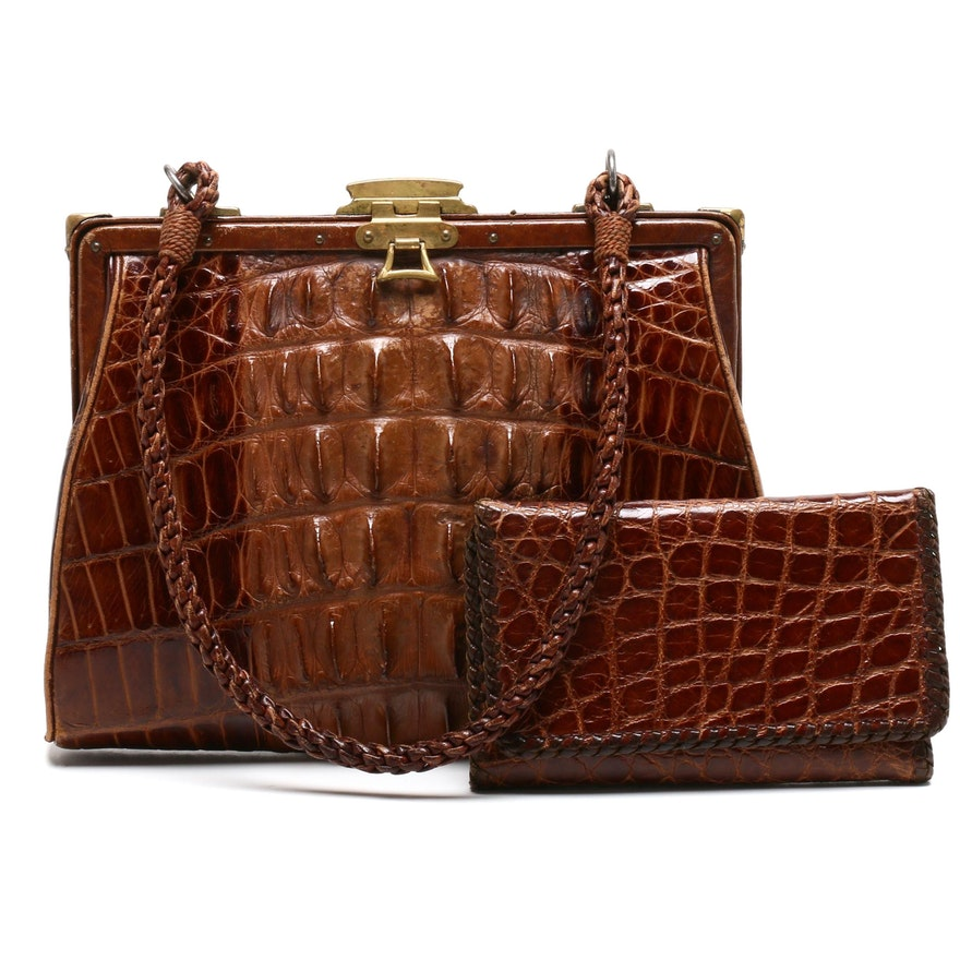 Hornback Crocodile Skin Frame Bag with Alligator Skin Wallet, 1970s Vintage