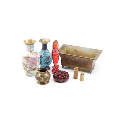 Chinese Cloisonné Vases with Other Small Table Top Décor and Seals