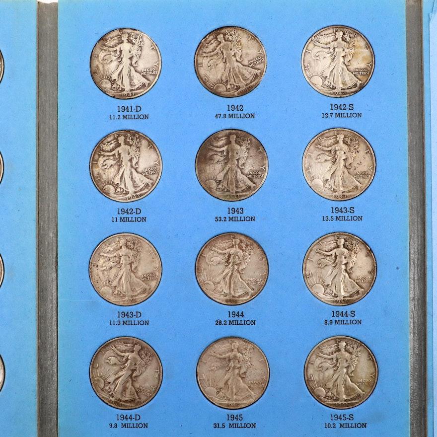 Two Whitman Binders Of Walking Liberty Silver Half Dollars