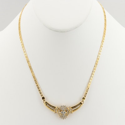 10K and 14K Yellow Gold 1.54 CTW Diamond Centerpiece Necklace
