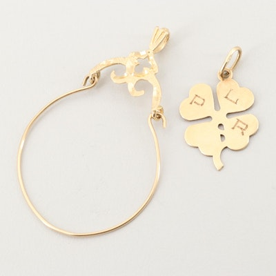 14K Yellow Gold Charm Holder and Clover Charm