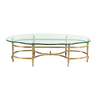 Brass Coffee Table with Glass Top, 1980s