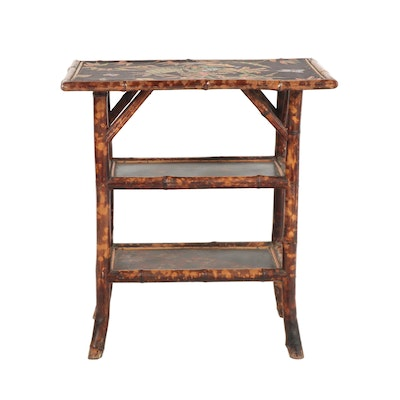 Aesthetic Movement Bamboo Three Tier Side Table with Linen Overlay Top